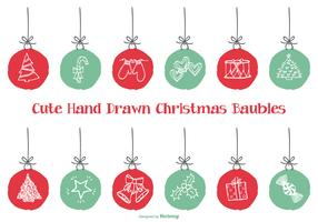 Cute Hand Drawn Style Xmas Baubles