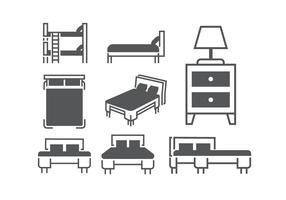 Beds and mattresses vectors