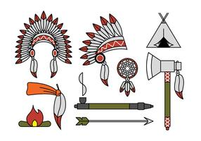 Indian chief mascot and headdress vectors