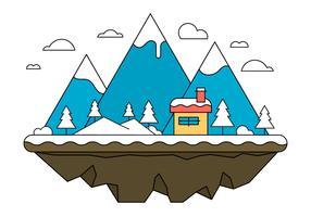 Blue Landscape Island Vector Illustration