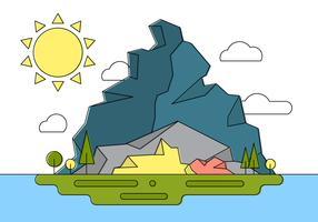 Rocky Landscape Island Vector Illustration
