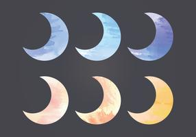 Vector Watercolor Moon