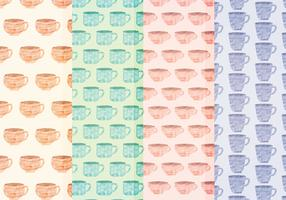 Vector Watercolor Mugs Patterns