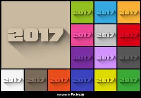 2017 New Year Colorful Buttons Set - Vector