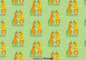 Cartoon Bollywood Dance Seamless Pattern