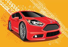 Ford Fiesta Vector Illustration with Ruts Background