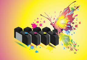 Ink Catridge Vector with Full Color Butterfly Background