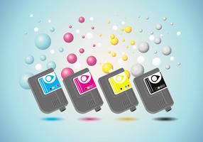 Ink Cartridge Vector with Ink Bubble Background