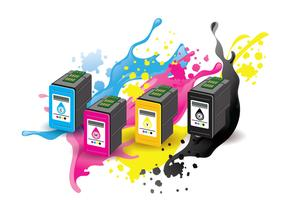 Ink Cartridge Vector with Ink Splatter Background