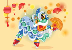 Cute Chinesse Lion Dance Vector