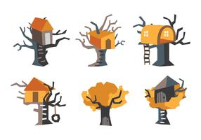 Orange TreeHouse Vector Illustration
