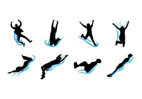 Free Water Slide Silhouettes Vector