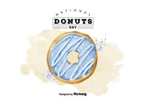 Free National Donuts Day Watercolor Vector