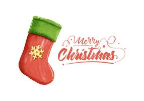 Merry Christmas Watercolor Vector