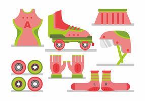 Woman Roller Derby Vector Set