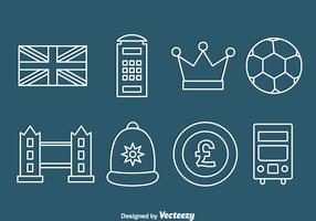 United Kingdom Element Line Icons Vector