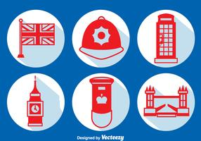 United Kingdom Element Long Shadow Icons Vector