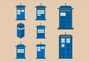 Vector flat design illustration of Tardis blue police phone box