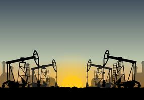 Oil Field Over Sunset Vector