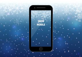 Smart Phone With Snow Season Background
