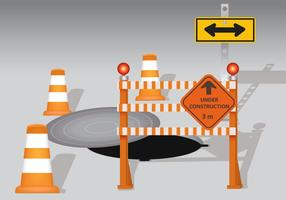 Manhole With Cone And Board Warning