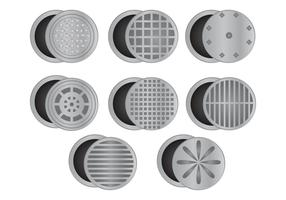 Set Of Manhole With White Background