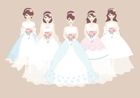 Bride and Bridesmaid Dress Vector