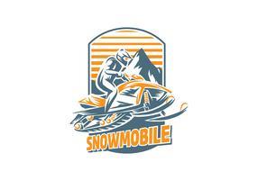 Snowmobile Handgraving Vector