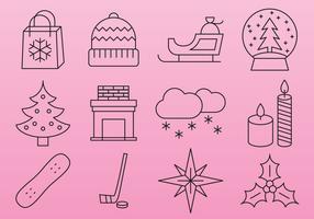 Pink Christmas line icons