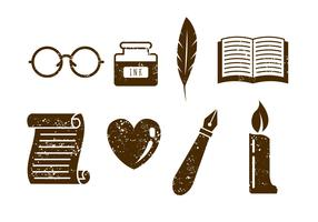 Poem Writer and Poet Vector Icons