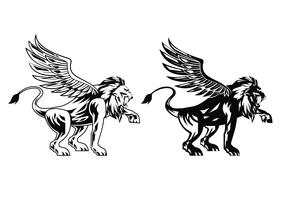 Black Winged Lion Vectors