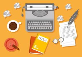 Free Writer Workspace Vector Illustration