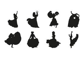 Free Gipsy Dance Silhouettes Vector