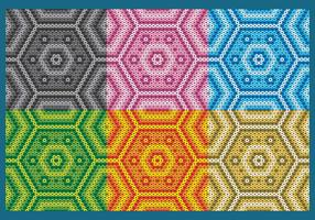 Colorful Huichol Hexagonal Patterns