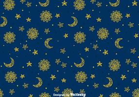 Sun, Moon And Sun Gipsy Seamless Pattern
