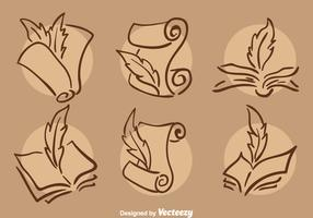 Classic Writing Poem Icons Vector