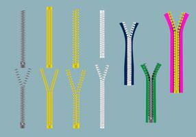 Cloth Zipper Pull Vector Set