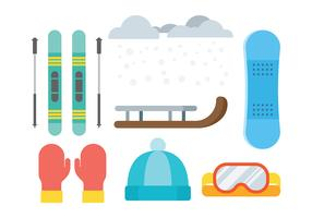 Sled and Toboggan Icons Vector