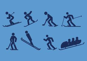 Ski, Skate, Hockey, Snowboarding and Sledding Pictogram Icons
