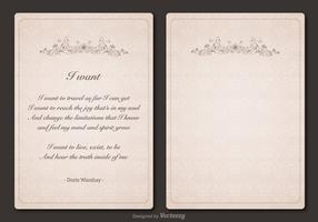Free Poem Vector Vintage Template Design