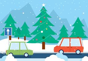 Free Christmas Vector Road Landscape