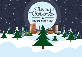 Free Christmas  Eve Vector Landscape