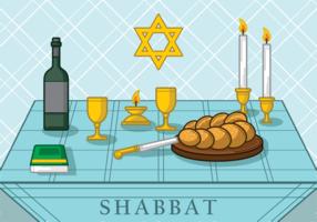 Shabbat Jewish Illustration