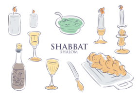 Shabbat Icons Vector