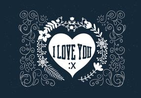 Hand Drawn Scrollwork Love Vector