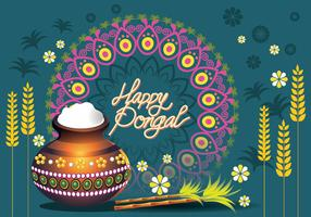 Vector Illustration of Happy Pongal Greeting Card