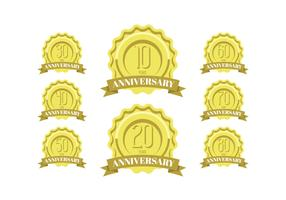 Anniversary celebration golden labels and badges