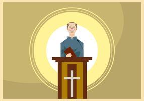Speaking Pastor in the Lectern Vector