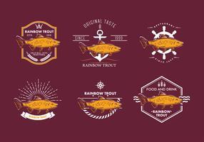 Rainbow Trout Emblem Free Vector