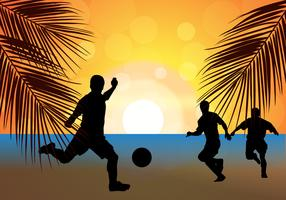 Beach Soccer Football Sunset Silhouette